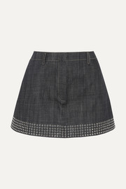 Eyelet-embellished denim mini skirt