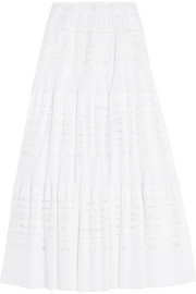 Alaïa Laser-cut pleated cotton-blend maxi skirt