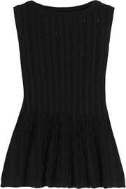 Alaïa Stretch-knit peplum top