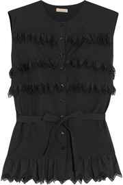 Alaïa Laser-cut ruffled cotton-poplin top