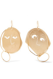 Moon Face gold-plated earrings
