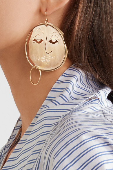 J.W.Anderson Moon Face gold-plated earrings nIKKPw1D