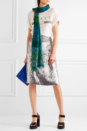 Loewe Intarsia wool, silk and cashmere-blend scarf