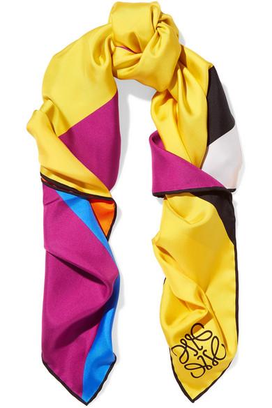 Loewe - Striped Silk-twill Scarf - Yellow