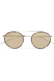 Loewe Tamariu round-frame gold-tone and acetate mirrored sunglasses