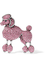 Poodle silver-tone crystal brooch