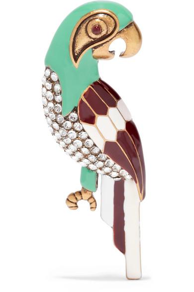 marc jacobs female marc jacobs parrot burnished goldtone swarovski crystal and enamel brooch green