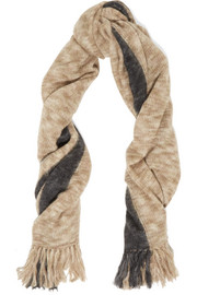 Izia fringed two-tone mohair-blend scarf