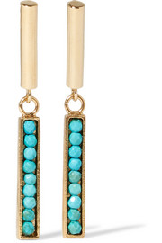 Gold-tone howlite earrings