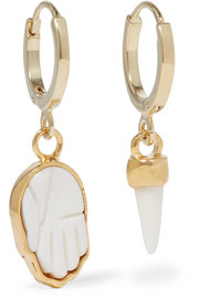 Gold-tone bone earrings