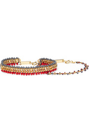 Set of two gold-tone beaded bracelets