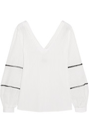 Kos embroidered cotton-jacquard blouse