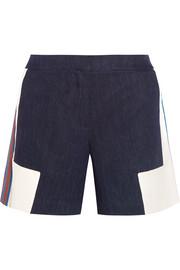 Zeus+Dione Iris embroidered linen-chambray shorts