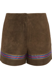 Zeus+Dione Mahi embroidered suede shorts