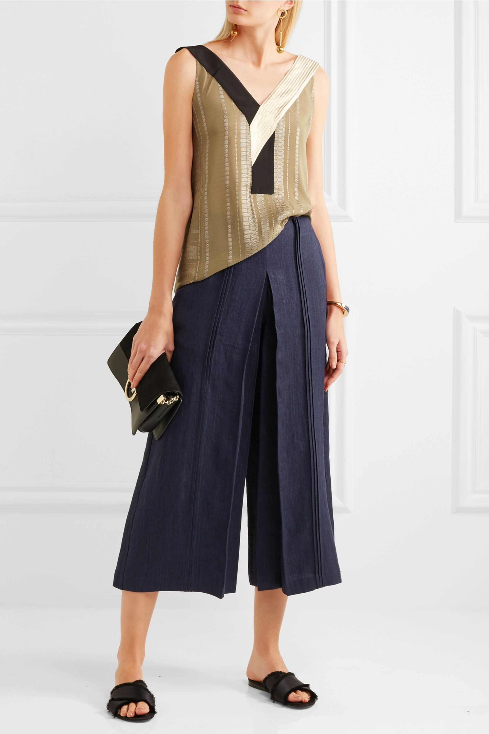Zeus+Dione Pleiades pleated linen-chambray culottes