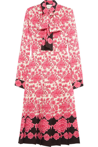 Gucci - Pussy-bow Pleated Printed Silk Crepe De Chine Dress - Pink