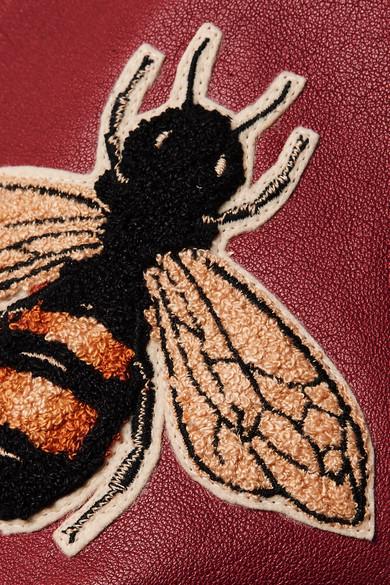 Gucci Bomberjacke aus Leder und Wolle mit Applikationen Vorbestellung Günstig Online Billig Footlocker Finish mozfQ36