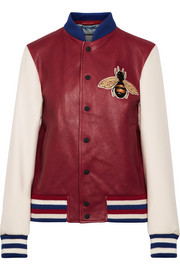 Gucci Appliquéd leather and wool bomber jacket