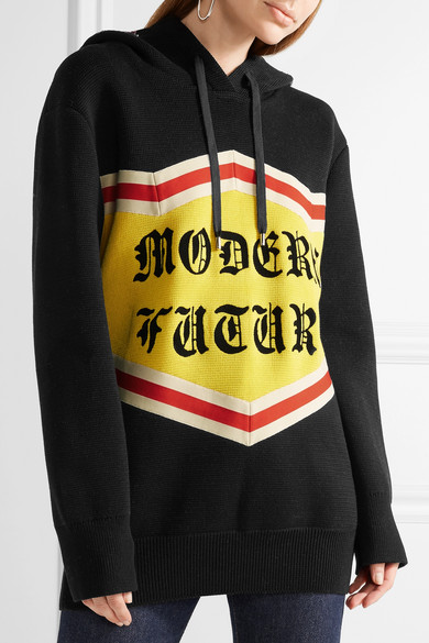 GUCCI Modern Future Embellished Hooded Cotton Sweater in Black ...