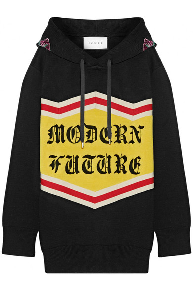 Gucci - Modern Future Sequin-embellished Cotton Jacquard-knit Hooded Top - Black