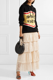 Gucci Tiered silk-satin and lace maxi skirt