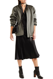 Oversized satin bomber jacket