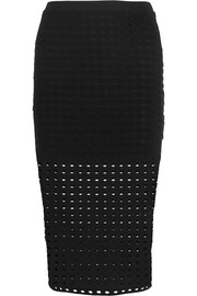 Perforated stretch-jersey skirt