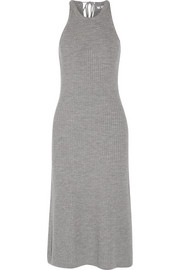Ribbed merino wool midi dress