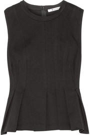 T by Alexander Wang Pleated cotton-jersey peplum top