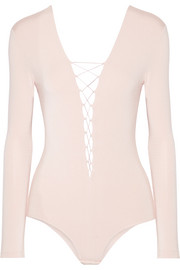 Lace-up stretch-modal jersey bodysuit