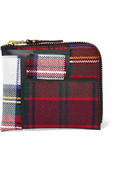 comme des garcons female comme des garcons taped plaid wool wallet red