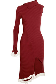 Esteban Cortazar Asymmetric one-shoulder ribbed stretch-knit midi dress