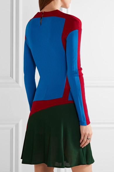 ESTEBAN CORTAZAR Color-Block Stretch-Knit Mini Dress ...
