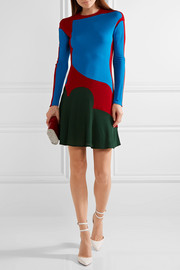 Esteban Cortazar Color-block stretch-knit mini dress