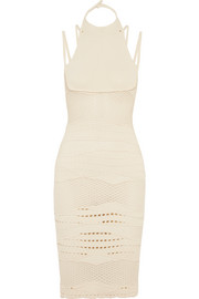 Esteban Cortazar Cotton-blend crochet-knit halterneck midi dress