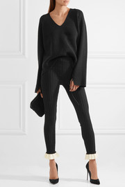 Esteban Cortazar Ruffled cotton-trimmed ribbed stretch-knit leggings