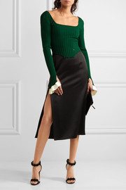 Esteban Cortazar Cropped ribbed-knit top