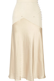 Paneled stretch-knit and satin midi skirt