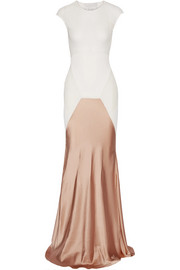 Satin-paneled ribbed stretch-knit gown