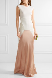 Esteban Cortazar Satin-paneled ribbed stretch-knit gown