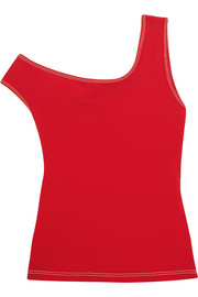 One-shoulder cotton-jersey top