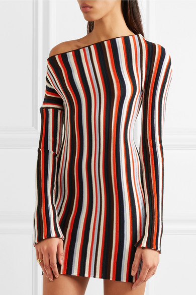 Jacquemus. One-shoulder striped wool mini dress