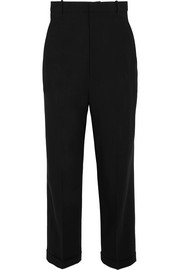Cropped wool-crepe tapered pants