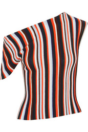 Jacquemus One-shoulder striped wool top