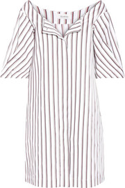 Striped cotton-poplin mini dress