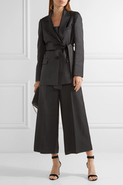 Belted wool and silk-blend blazer