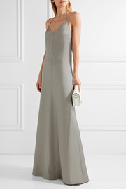 Barbara Casasola Chain-trimmed wool and silk-blend halterneck gown