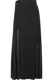 Helmut Lang Fringed stretch-cady maxi skirt
