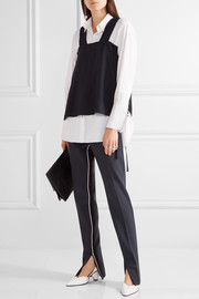 Tie-side frayed twill top