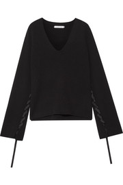 Helmut Lang Ribbon-detailed wool and cashmere-blend sweater